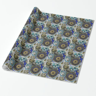 Blue aqua steampunk gears, cogs, clock faces print wrapping paper