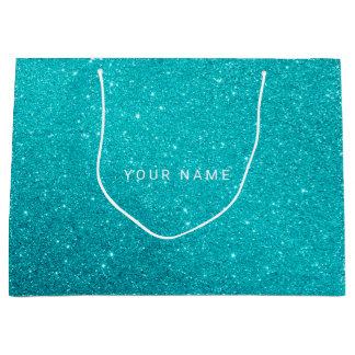 Blue Aqua Turqoise Ocean Glitter Favor Gift Large Gift Bag