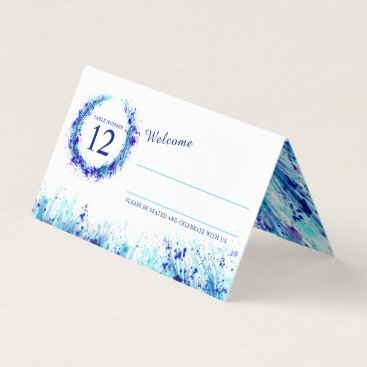 Blue aqua watercolor grass wedding place cards
