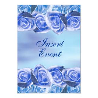 Blue aqua wedding elegant rose 5x7 paper invitation card