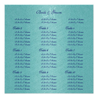 Blue aqua wedding seating charts print