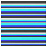 [ Thumbnail: Blue, Aqua, White & Black Colored Stripes Fabric ]