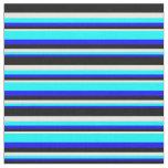 [ Thumbnail: Blue, Aqua, White & Black Colored Stripes Fabric ]