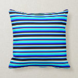 [ Thumbnail: Blue, Aqua, White & Black Colored Stripes Pillow ]