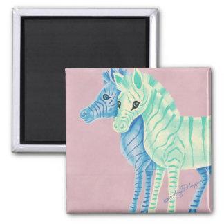 Blue & Aqua Zebras 2 Inch Square Magnet