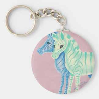Blue & Aqua Zebras Key Chains