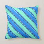 [ Thumbnail: Blue, Aquamarine, and Dark Slate Blue Colored Throw Pillow ]
