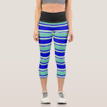[ Thumbnail: Blue, Aquamarine & Beige Striped/Lined Pattern Leggings ]