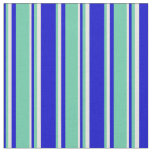 [ Thumbnail: Blue, Aquamarine & Beige Striped/Lined Pattern Fabric ]