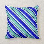 [ Thumbnail: Blue, Aquamarine & Beige Striped/Lined Pattern Throw Pillow ]
