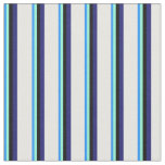[ Thumbnail: Blue, Aquamarine, Black, Midnight Blue, Mint Cream Fabric ]