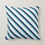 [ Thumbnail: Blue, Aquamarine, Black, Midnight Blue, Mint Cream Throw Pillow ]