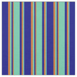 [ Thumbnail: Blue, Aquamarine & Chocolate Colored Stripes Fabric ]