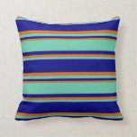 [ Thumbnail: Blue, Aquamarine & Chocolate Colored Stripes Throw Pillow ]