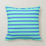 [ Thumbnail: Blue & Aquamarine Colored Lined/Striped Pattern Throw Pillow ]