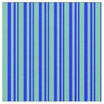 [ Thumbnail: Blue & Aquamarine Colored Striped Pattern Fabric ]