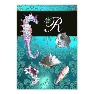 BLUE AQUAMARINE DAMASK BEACH WEDDING MONOGRAM CARD