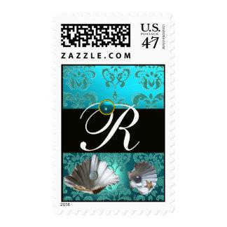 BLUE AQUAMARINE DAMASK BEACH WEDDING MONOGRAM POSTAGE