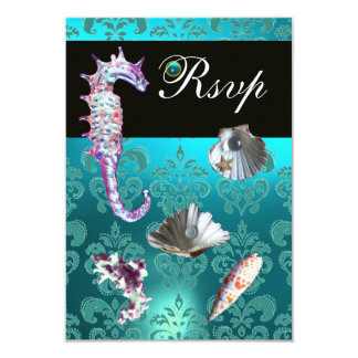 BLUE AQUAMARINE DAMASK BEACH WEDDING RSVP CARD