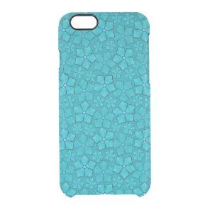 Blue Aquamarine flower petals Monogram Initials Clear iPhone 6/6S Case