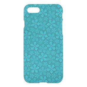 Blue Aquamarine Flower Petals Pattern iPhone 7 Case
