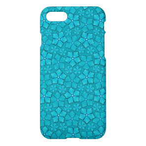 Blue Aquamarine Flower Petals Pattern iPhone 8/7 Case