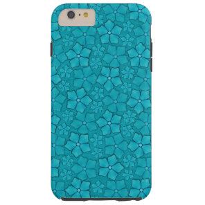 Blue Aquamarine Flower Petals Pattern Tough iPhone 6 Plus Case