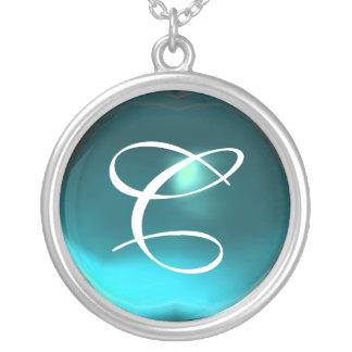Blue Aquamarine Gem  Monogram Jewelry
