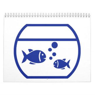 Blue Aquarium Fish Wall Calendar