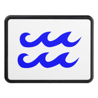 Blue Aquarius Zodiac Symbol Hitch Cover