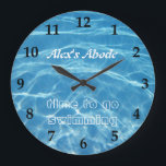 """Blue Aquatic Fresh Pool Water Swimming Clear Cool Large Clock<br><div class=""""desc"""">Cool,  clear blue pool water design for your chlorine junkie friend or family. Customize with names or initials and your own text or message.</div>"""