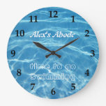 Blue Aquatic Fresh Pool Water Swimming Clear Cool Large Clock