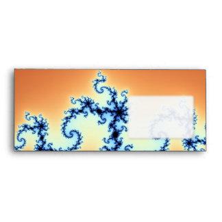 Blue Arabesque on Gold - fractal design Envelopes