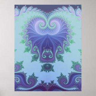 blue arabesque tryptich print