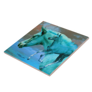 Blue arabian foal collage Tile