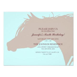 Blue Arabian Horse Head Birthday Party Invitation