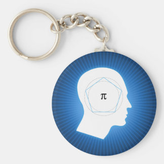 Blue Archimedes' Approximation of Pi Keychain