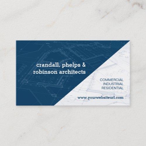 Blue Architectural Blueprint Business Card