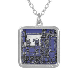 Blue architectural ink detail personalized necklace