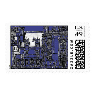 Blue architectural ink detail stamp
