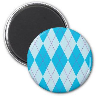 Blue Argyle 2 Inch Round Magnet