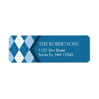 Blue Argyle Address Label