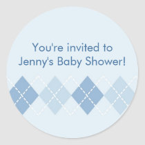 Blue Argyle Baby Shower Stickers Envelope Seals