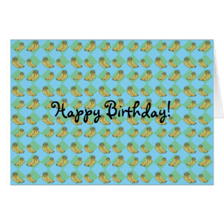 Blue argyle banana pattern card