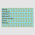 Blue argyle banana pattern rectangular sticker