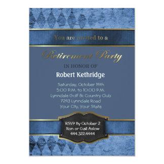 Blue Argyle Classic Retirement Party Invitations Custom Announcements