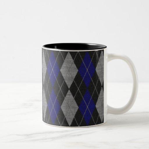 Blue Argyle Coffee Mug