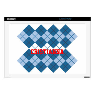 "Blue Argyle Design 17"" Laptop Skin"
