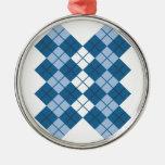 Blue Argyle Design Christmas Ornaments