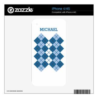 Blue Argyle Design Skin For The iPhone 4